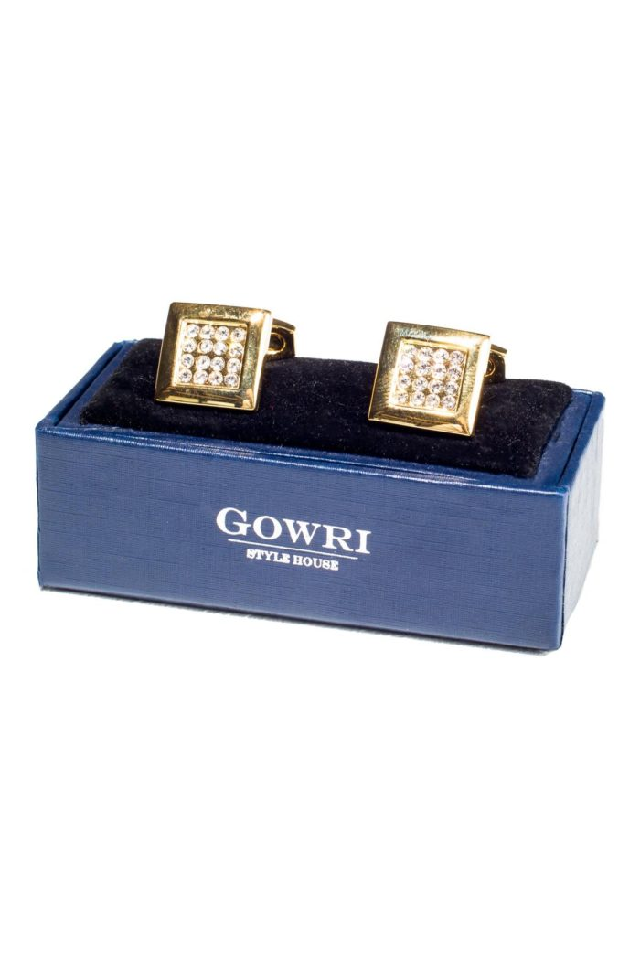 Golden Cufflinks with Swarovski Crystals