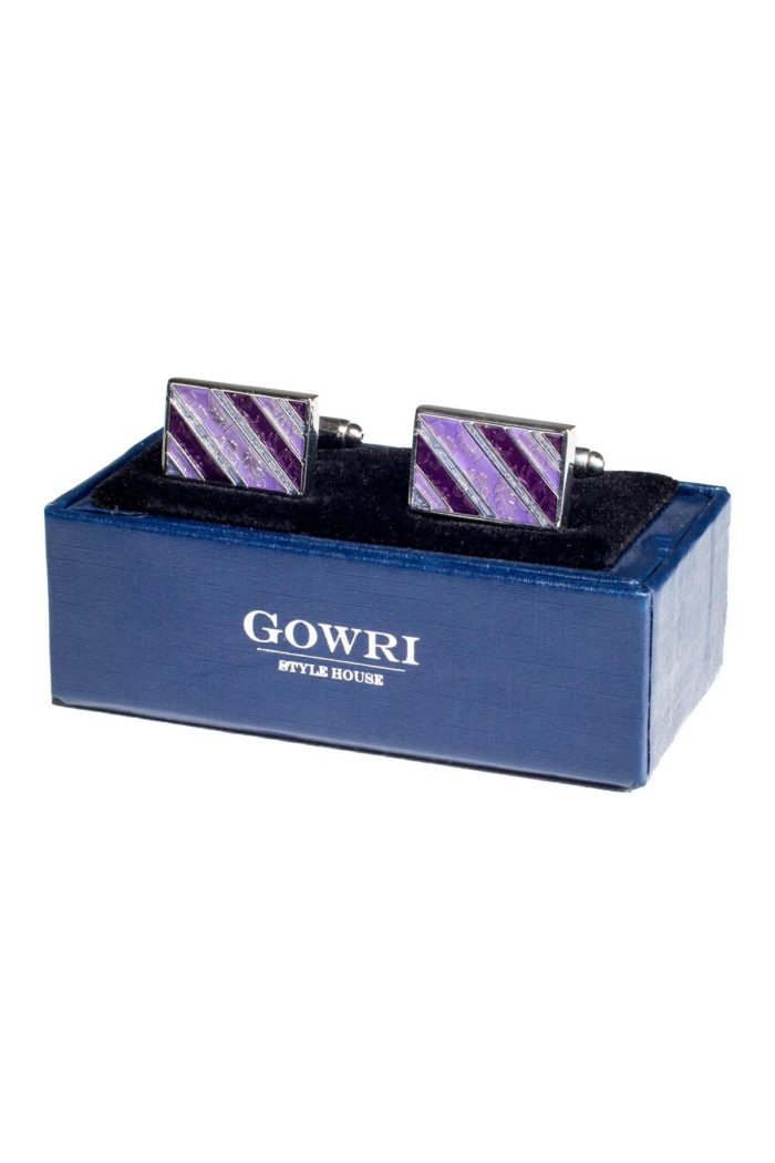 Lilac Striped Cufflinks