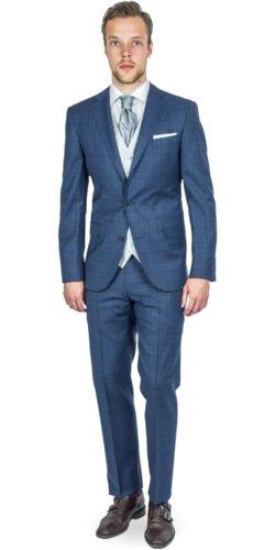 Portobello Blue Checked Suit 165014092018 (2)