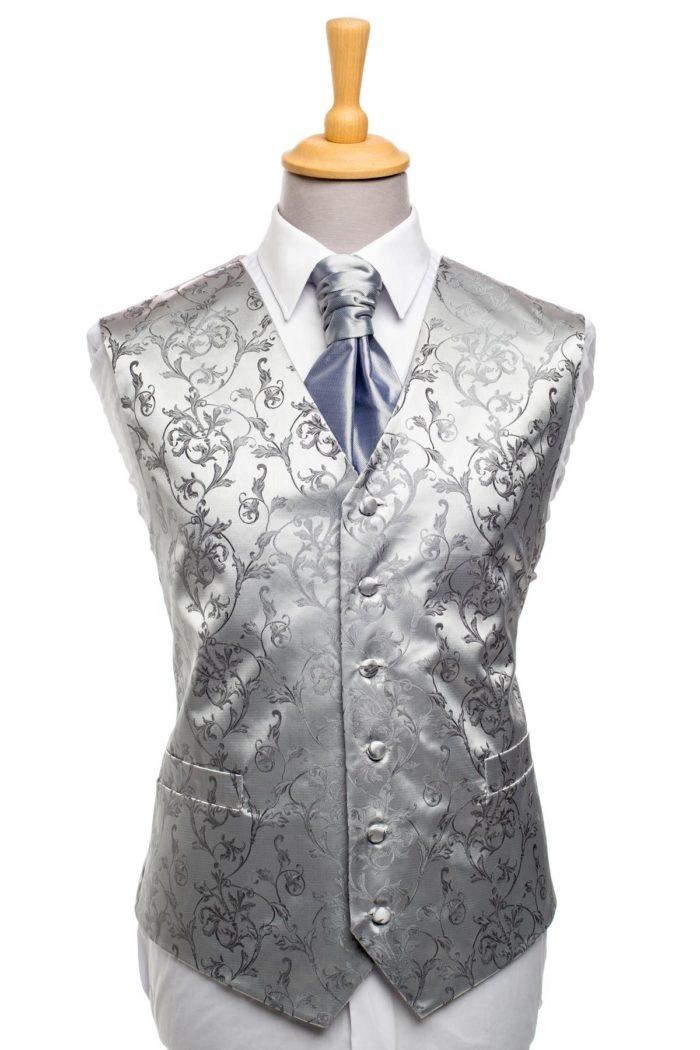 Silver Floral Ornament Waistcoat