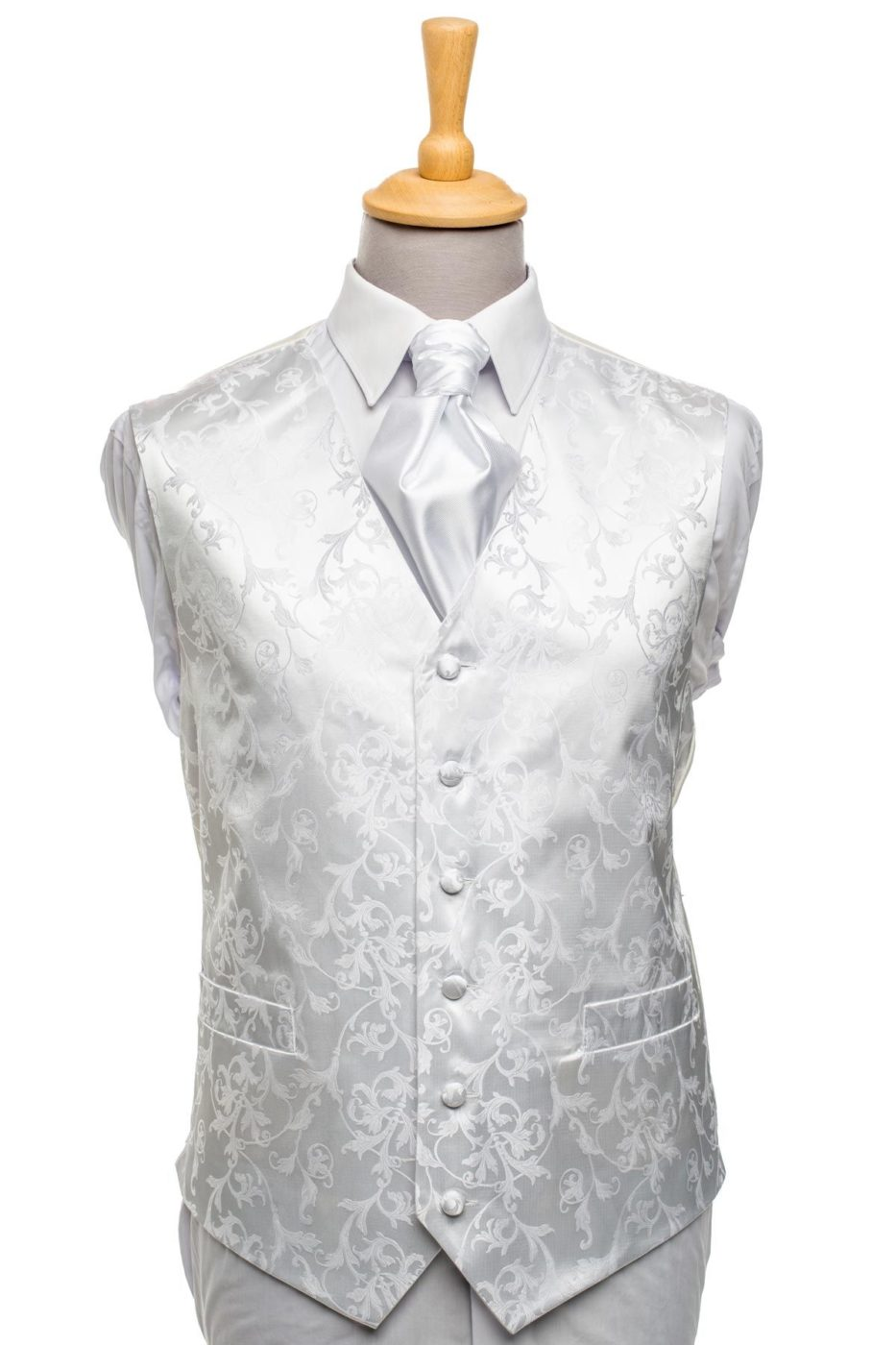 White Floral Ornament Waistcoat
