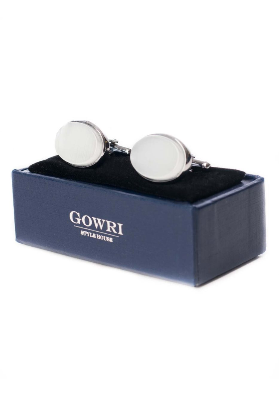 White Oval Cufflinks